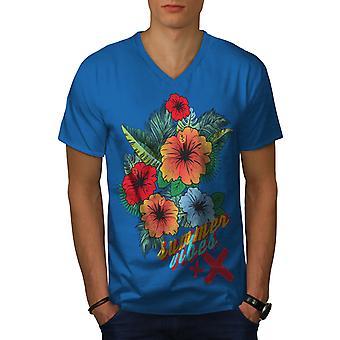 Summer Vibe Suny Men Royal BlueV-Neck T-shirt   Wellcoda