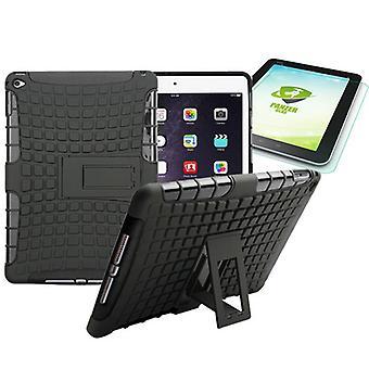 Híbrido al aire libre estuche negro para iPad 2 airbag + 0.4 H9 vidrio templado