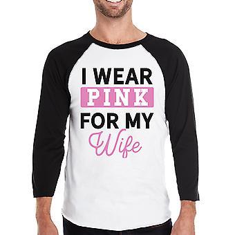 ارتدى اللون الوردي قميصي البيسبول الوعي بسرطان الثدي رجالي الزوجة