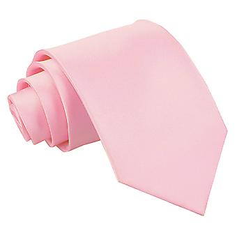 Baby Pink Plain Satin Extra Long Tie