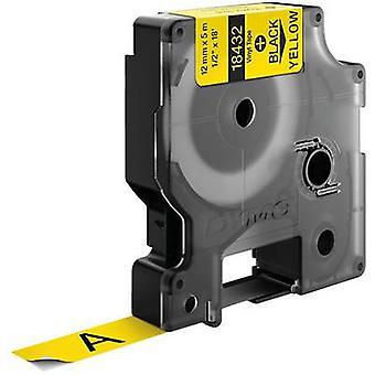 Etikettering tape DYMO IND RHINO 18432 Vinyl Tape kleur: geel lettertype kleur: zwart 12 mm 5.5 m