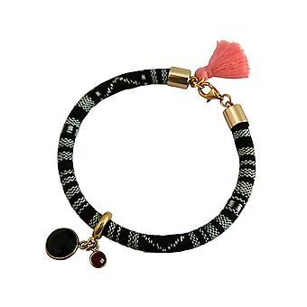 Gemshine armbånd 925 sølv forgyldt AZTEC røget kvarts Ruby rød pink