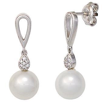 Rhodium-plated oorbellen 925 Sterling zilveren oorbellen zilveren oorbellen met Zirkonia en parels
