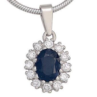 Сапфир Кулон 925 стерлингового серебра родия покрытием 12 кубического циркония 1 Сапфир синий