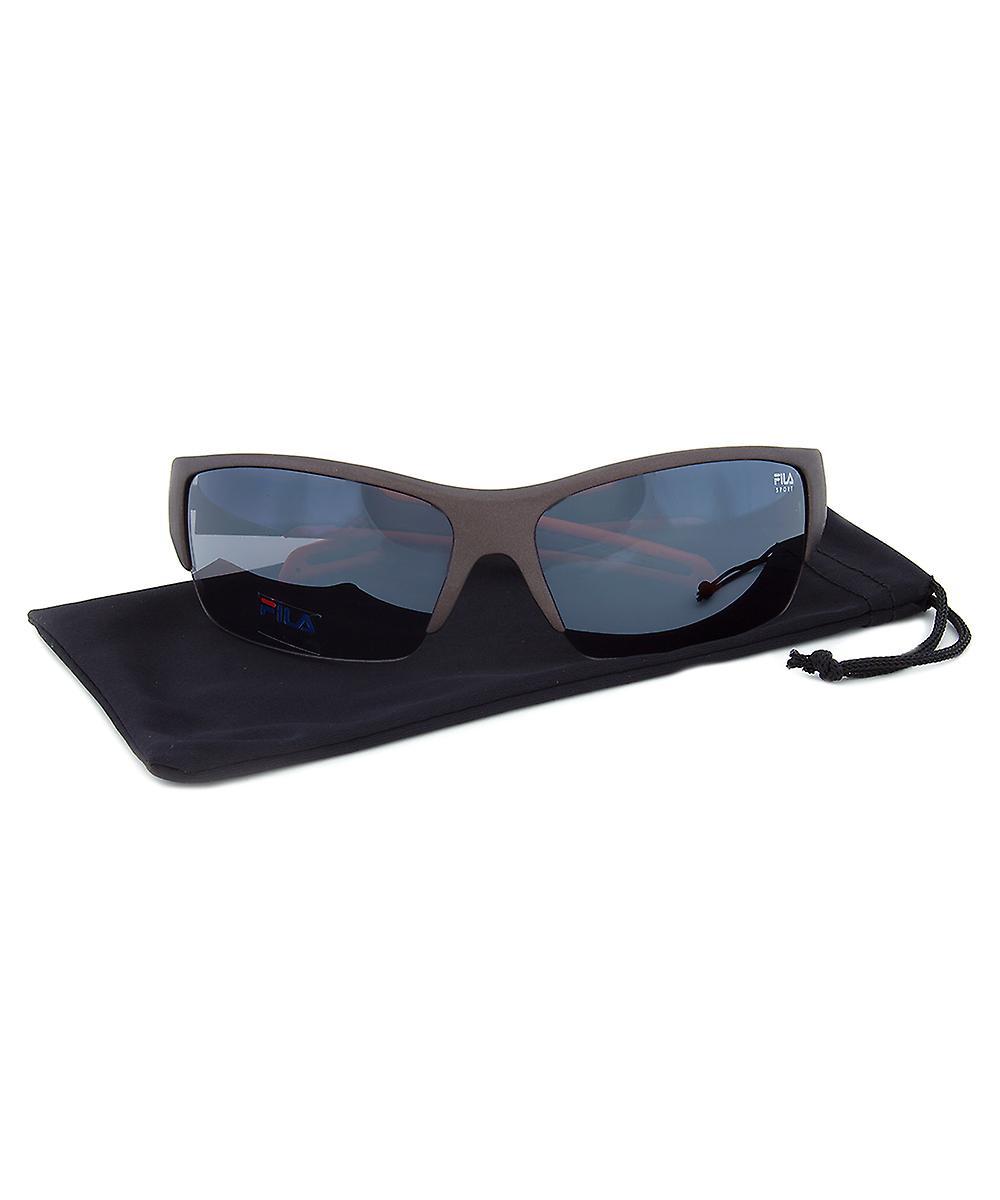 Fila F1048C 800 Rectangular Wrap Sunglasses | Grey and Orange Frame | Grey Lens