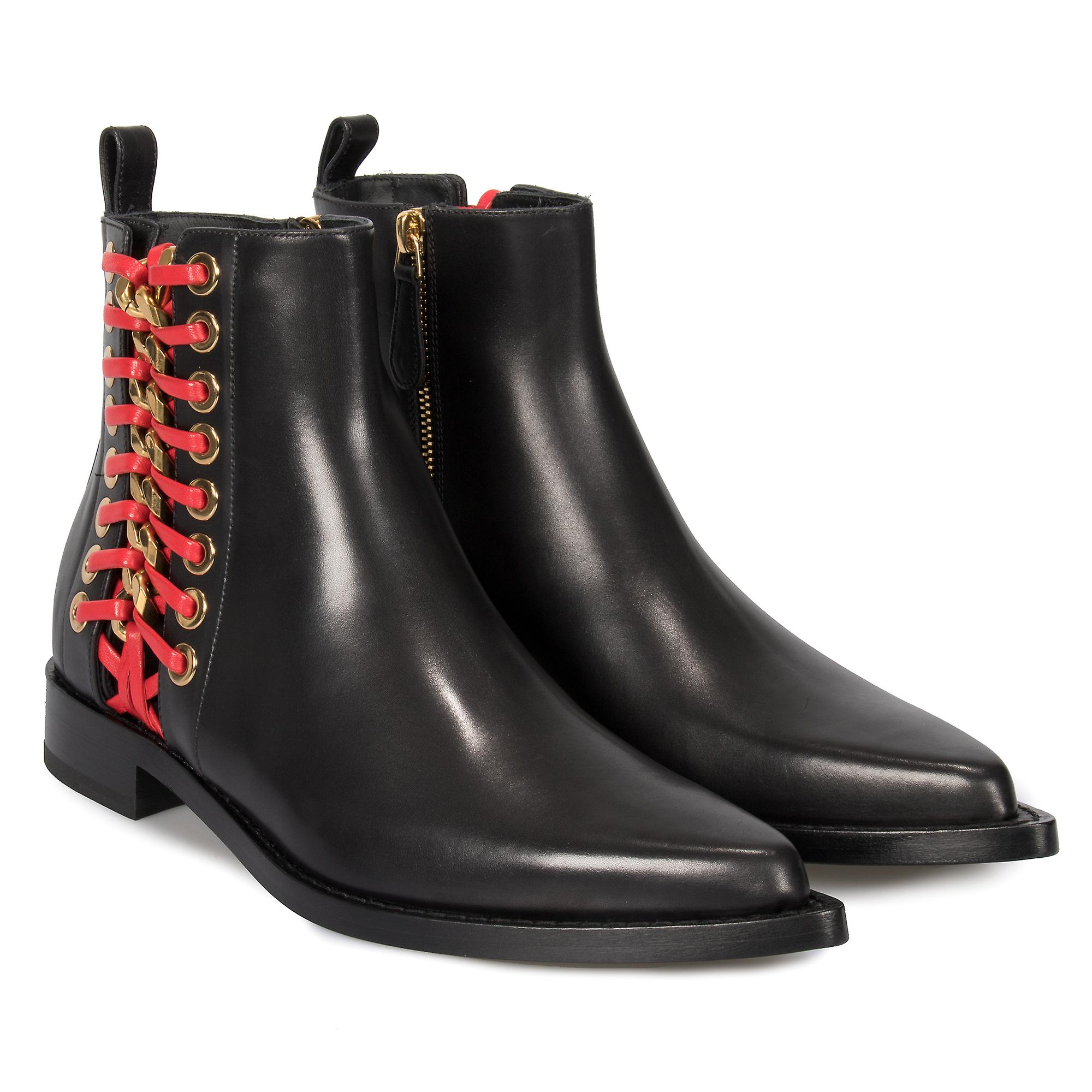 Alexander McQueen Braided Chain Leather Chelsea Boots