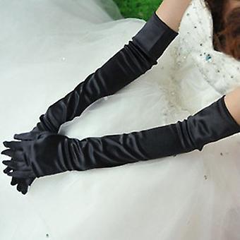 TRIXES Seide Stil Ellenbogen Länge Handschuhe Retro schwarz