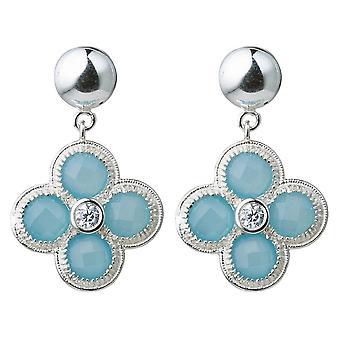 Gemshine women's oorbellen blauwe Chalcedoon edelstenen. 925 zilver of verguld