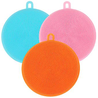 TRIXES Pack of 3 Multipurpose Silicone Scrubbing Pads Bathroom Skin Care Kitchen Cleaning