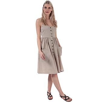 Womens Brave Soul Button Through Strappy Midi Dress In Oyster