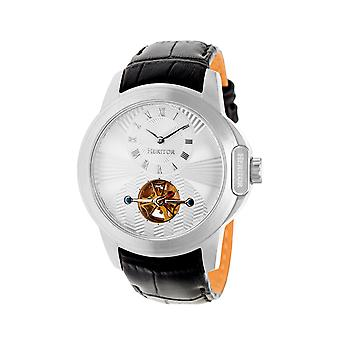 Heritor Automatic Windsor Semi-Skeleton Leather-Band Watch - Silver
