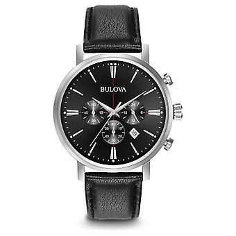 Bulova Men's Chronograph Black Leather Strap 96B262 Watch