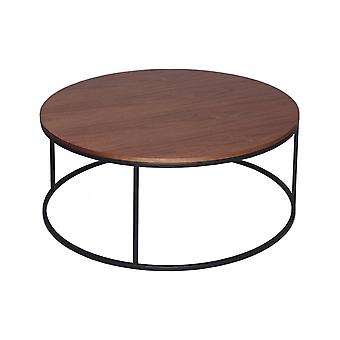 Gillmore Walnut And Black Metal Contemporary Circular Coffee Table