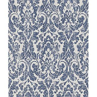 Baroque Damask Wallpaper Vintage Blue White Paste The Wall Feature Rasch