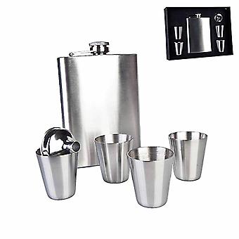 Stainless Steel Hip Flask w/ Shot Glasses
