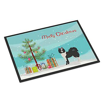 Black and White Elo dog Christmas Tree Indoor or Outdoor Mat 24x36
