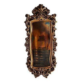 Sjø og skip, olje maleri med ramme, ytre dimensjoner 79x34x4 cm