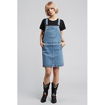 Dappere ziel Pippa denim jurk blauw