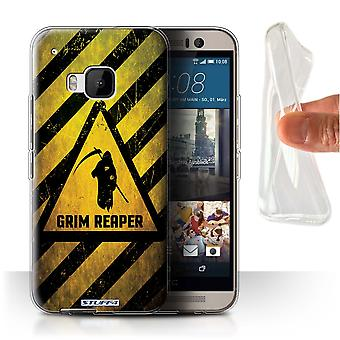 STUFF4 Gel/TPU Case/Cover for HTC One/1 M9/Death/Reaper/Hazard Warning Signs