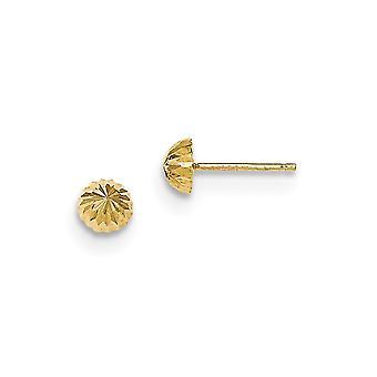 14k Brilho amarelo de ouro cortado 5mm Domed Post Brincos Joias Presentes para Mulheres