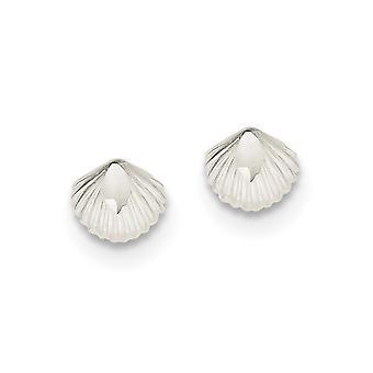 925 Sterling ezüst polírozott lapos hátlap Post Fülbevaló Shell Mini fiúknak és lányoknak Fülbevaló intézkedések 8x8mm széles