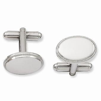 Solide gepolijst Gift Boxed Engravable (alleen voorzijde) Rhodium-plated ovale kralen Manchetknopen