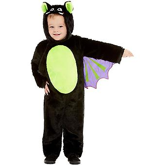 Bat kostým batoľa s kapucňou jumpsuit čierny Detský kostým
