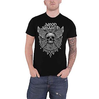 Amon Amarth T Shirt Grey Skull Band Logo new Official Mens Black