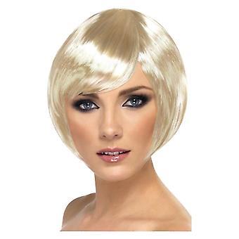 Naisten blondi Bobbed Babe peruukki naamiaispuku lisävaruste