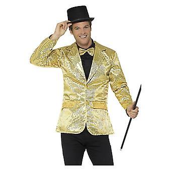 Mens oro lentejuelas chaqueta disfraces accesorios