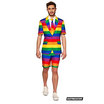 Mister Rainbow Gay Pride Rainbow Summer Suit with Shorts Suitmaster Slimline Economy 3-piece