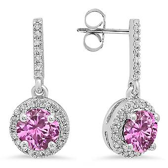 Dazzlingrock Collection 14K 6 MM Each Round Lab Created Pink Sapphire & Round Diamond Ladies Halo Drop Earrings, White Gold