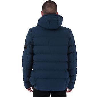 Mens Crosshatch Black Label Kampleys Quilted Jacket In Blue- Zip Fastening With