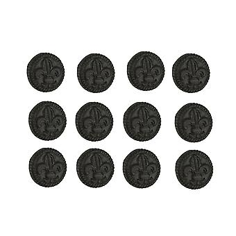 Brown Cast Iron Fleur De Lis Round Cabinet Knobs or Drawer Pulls Set of 12