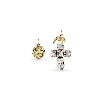 Jewelco London Men's 9ct Yellow Gold and Sterling Silver Golden Globe Cross Masonic Orb Ball Pendant