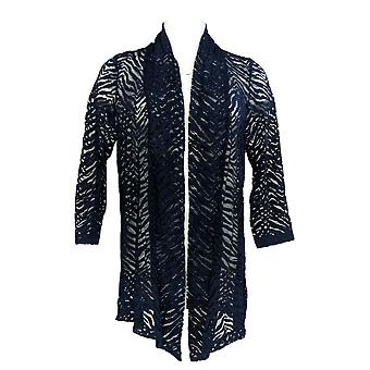 Susan Graver Women's Sweater Stretch Lace Open Front Cardigan Blue A254450