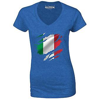Realiteit glitch verscheurd Italië vlag Womens t-shirt-v-hals