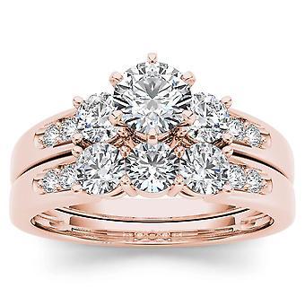 Igi certified 14k rose gold 1.42 ct natural diamond halo engagement ring set