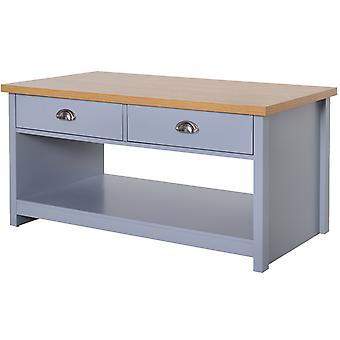 HOMCOM Coffee Table w/ 2 Drawers Open Display Wood Effect Tabletop Living Room Storage Retro Style Chic Polished Handles