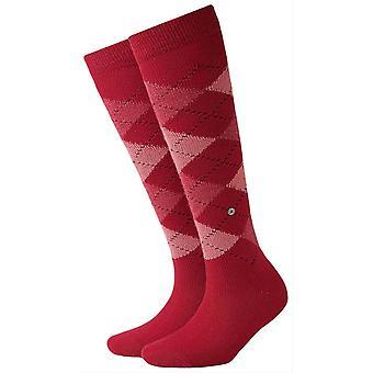 Burlington Whitby Knee High SOCKS-rød/lys rosa