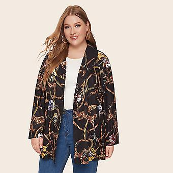 Plus chain print shawl collar blazer