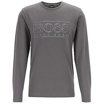 Hugo Boss Togn logo puuvilla tummanharmaa pitkähihainen T-paita