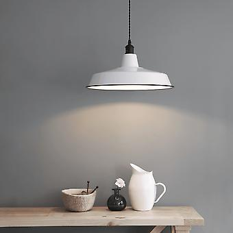 Garden Trading Albion Wide Pendant Light In White Enamel