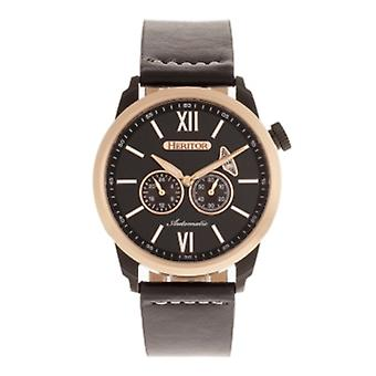 Heritor Automatic Wellington Leather-Band Watch - Rose Gold/Black