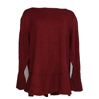 Style & Co. Women's Plus Sweater Solid Ruffle Pull-Over Purple PTC