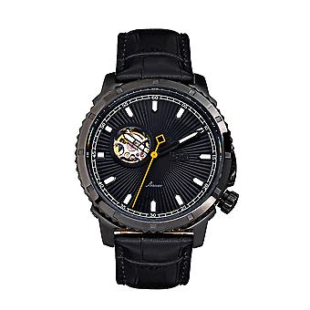 Reign Bauer Automatic Semi-SkeletonLeather-Band Watch - Black
