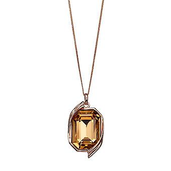 Joshua James Radiance Silver With Rose Gold Plating & Colorado Topaz Swarovski Crystal Pendant