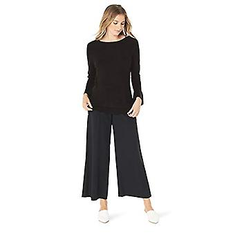 Napa Valley Women's Pullover Sweater with Ruffle Bell Sleeve, Black, Large