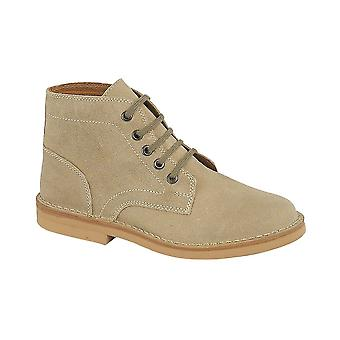 Roamers Dark Taupe Real Suede 5 Eye Leisure Boot Textile Lining Pvc Micro Sole