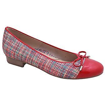 Ara Red Low Heel Textile Effect Ballet Pump